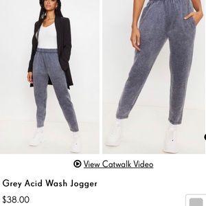 GREY ACID WASH JOGGERS / sweats